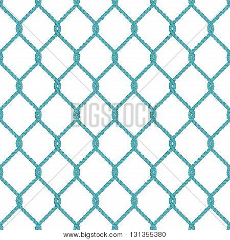 Seamless nautical rope knot pattern. Endless navy illustration with green fishing net ornament and twisted cord on white backdrop. Trendy maritime style background. For fabric, wallpaper, wrapping.