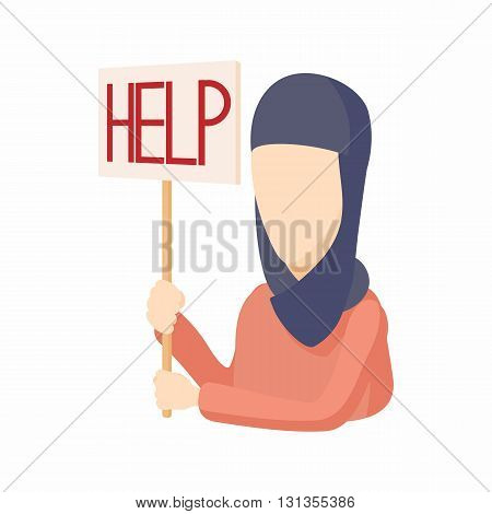 Woman in hijab with help sign icon in cartoon style on a white background