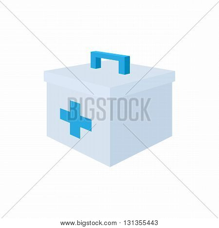 Medicine chest with blue cross icon in cartoon style on a white background