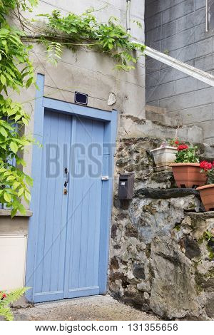 Blue French door with plants in pots