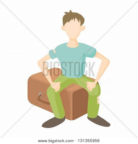 Man sitting on suitcase icon in cartoon style on a white background