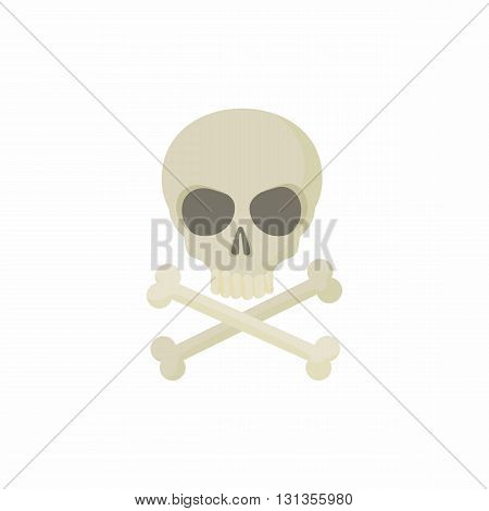 Skull with two crossed bones icon in cartoon style on a white background