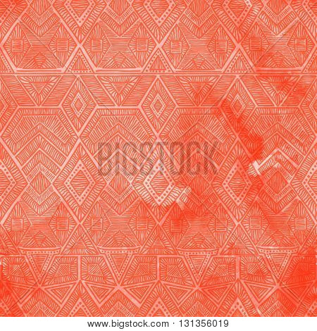 Seamless Geometric Pattern With A Watercolor Texture. Coral Vintage Wallpaper.