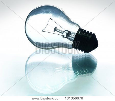 light bulb with reflections on the glass