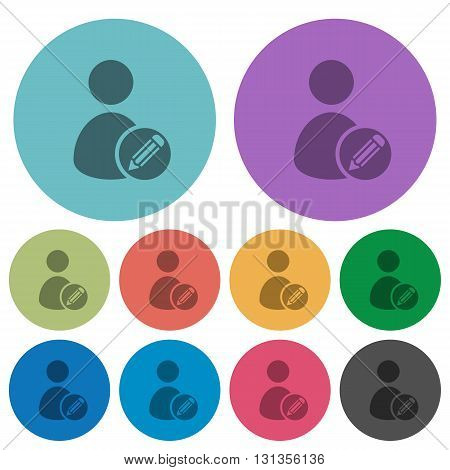 Color Edit user account flat icon set on round background.
