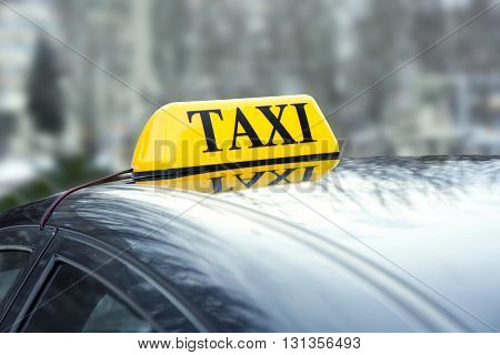 Taxi car with sign, outdoor