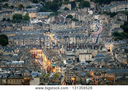 Panoramic View of Georgian Houses in English Town Bath City UK.