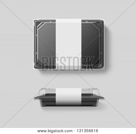 Blank plastic disposable food container mockup transparent lid isolated clipping path 3d illustration. Sushi empty to go bento delivery box mock up. Meal lunch take away out clear tray template.