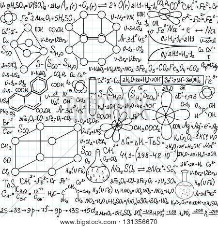 Chemistry vector seamless pattern with plots, formulas and laboratory equipment,
