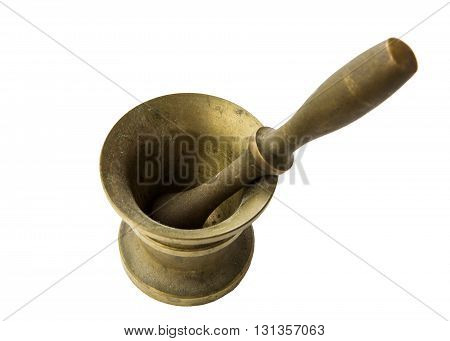 Bronze ancient mortar to grind coffee. Elegant classic coffee beans. Heavy metal coffee mortar.