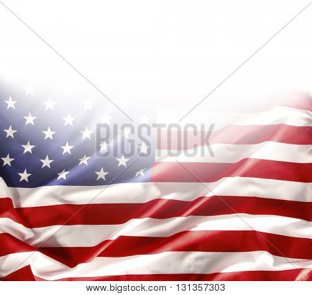 American flag on plain background