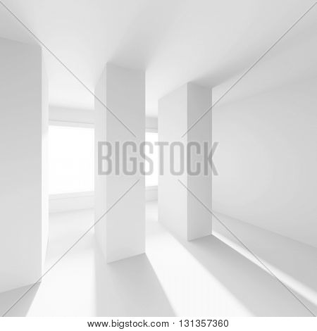 3d Illustration od White Interior Design. Empty Room with Window and Columns. Abstract Architecture Background