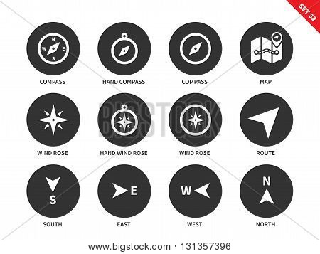 Compass and maps vector icons set. Equipment for finding right way. Travelling and direction items, compasses, map, wind roses, south, east, west, north signs. Isolated on white background