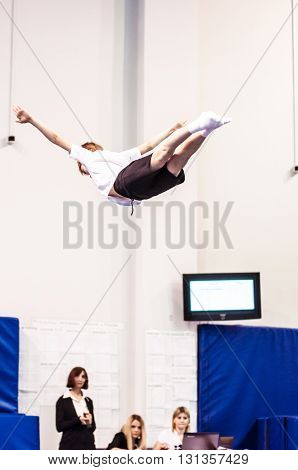 Orenburg, Russia - 30 April 2016: The Boys Compete In Jumping On The Trampoline