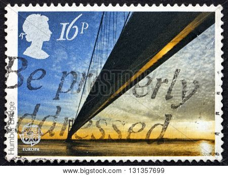 GREAT BRITAIN - CIRCA 1983: a stamp printed in Great Britain shows Humber Bridge is a Single-span Suspension Bridge near Kingston upper Hull England circa 1983