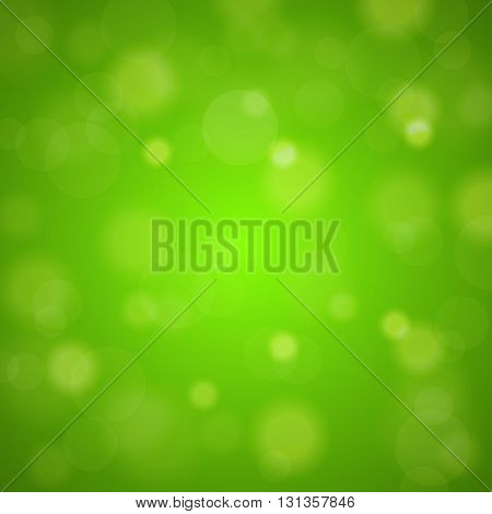 Shiny Bright Green Lights Blurred Background. Vector Illustration