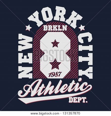 New York Brooklyn Sport wear typography emblem, t-shirt stamp graphics, vintage tee print, athletic apparel design graphic print - vector