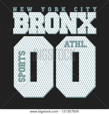 New York Bronx Sport wear typography emblem, t-shirt stamp graphics, vintage tee print, athletic apparel design