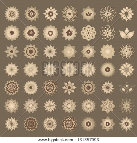 Pack Of 49 Transparent Light Vintage Abstract Geometric Flowers Logo Template. Business Abstract Ico