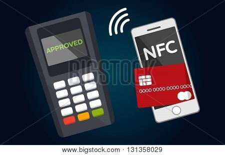 Mobile payments and near field communication. Transaction and paypass and NFC. Vector illustration
