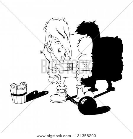 imprisoned man black and white cartoon