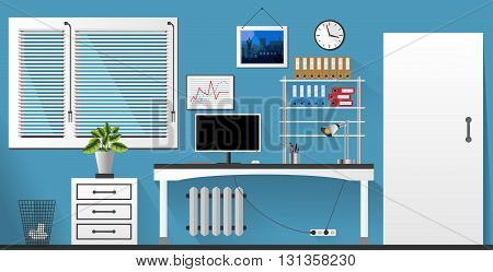 Flat Vector Interior Office Room In Blue And White Style. Vector Illustration