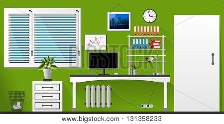 Flat Vector Interior Office Room In Green And White Style. Vector Illustration