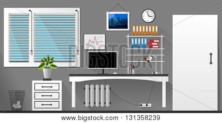 Flat Vector Interior Office Room In Grey And White Style. Vector Illustration