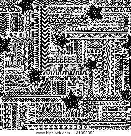 Ethnic Seamless Ornament. Zentangle Pattern. Black And White Vector Illustration.