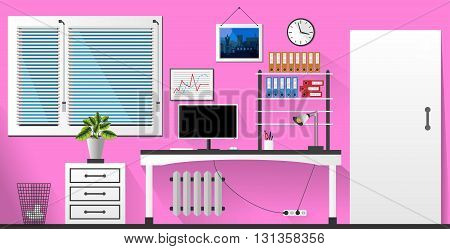 Flat Vector Interior Office Room In Pink And White Style. Vector Illustration