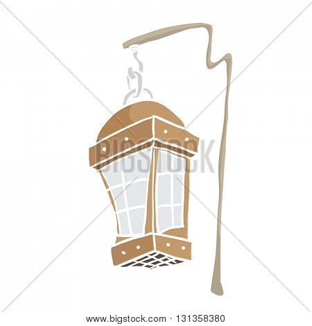 hanging lamp cartoon illustration isolated on white