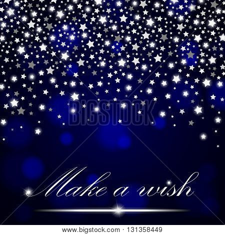 Silver Shining Falling Stars On Blue Ambient Blurred Background. Luxury Design. Vector Illustration