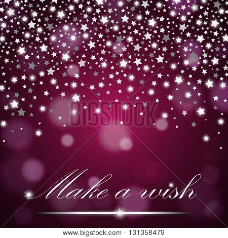 Silver Shining Falling Stars On Purple Ambient Blurred Background. Luxury Design. Vector Illustratio