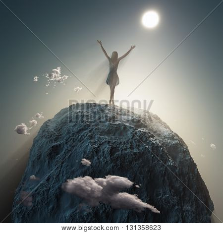 Woman standing on a mountain top, 3d illustration