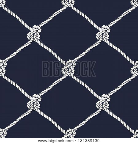 Seamless nautical rope knot pattern. Endless illustration with white fishing net ornament and marine knots on dark blue backdrop. Trendy maritime style background. For fabric, wallpaper, wrapping