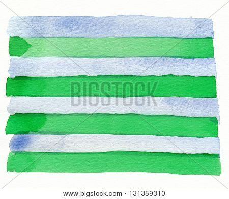 watercolor horizontal blue green hand drawn stripe pattern abstract background