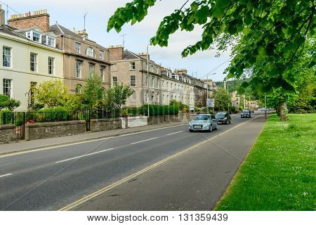 PERTH SCOTLAND - MAY 24 2016: Marshall Place in the city of Perth in Scotland.