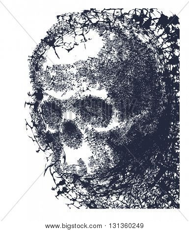 Black and white human skull. Hand drawn. Abstract background.
