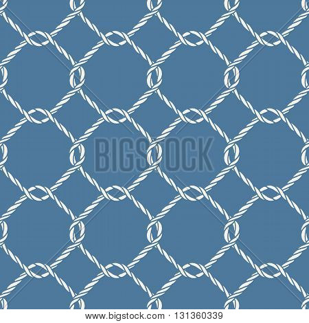 Seamless nautical rope knot pattern. Endless navy illustration with white fishing net ornament and twisted cord on blue backdrop. Trendy maritime style background. For fabric, wallpaper, wrapping.