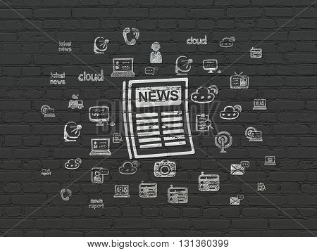News concept: Painted white Newspaper icon on Black Brick wall background with  Hand Drawn News Icons