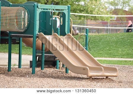 Colorful and empty children slide at the playground