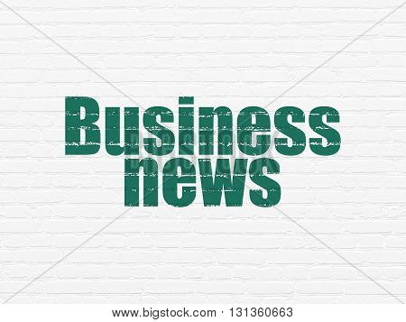 News concept: Painted green text Business News on White Brick wall background
