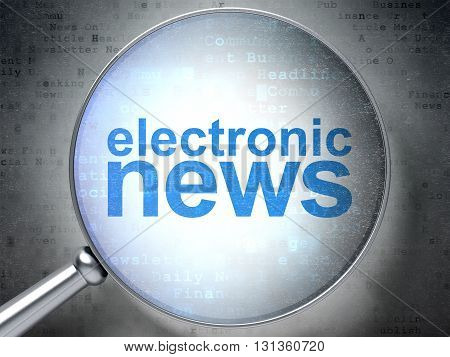 News concept: magnifying optical glass with words Electronic News on digital background, 3D rendering