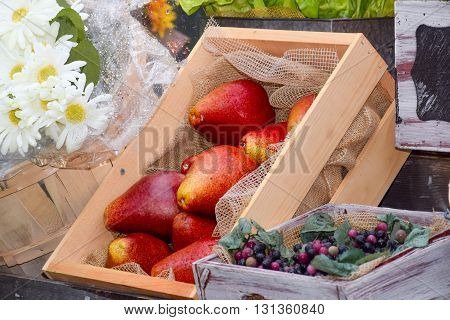 decoration made of artificial fruit vegetable and flowers