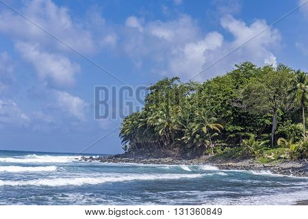 Scenic Ocean Landscape In Dominica With Huge Waves