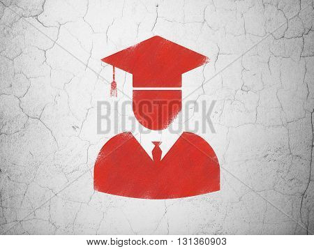 Science concept: Red Student on textured concrete wall background