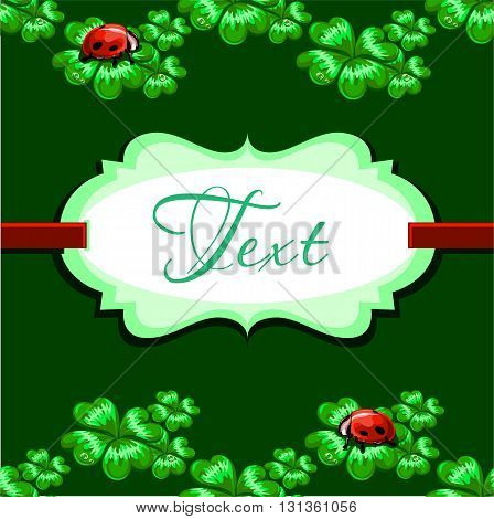 vector background with space for text in a retro-style decorated with clover leaves happy and ladybirds