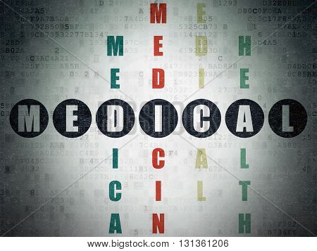 Health concept: Painted black word Medical in solving Crossword Puzzle on Digital Data Paper background