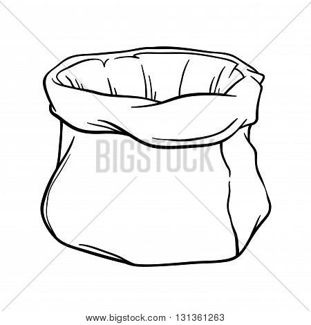 Vector stock of empty canvas sack outline silhouette