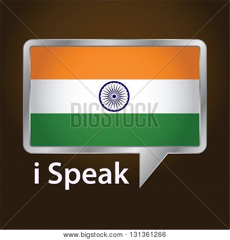 Vector stock of India flag inside speech bubble Speaking Hindi language